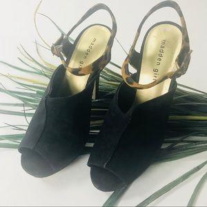 Madden Girl.  Black suede heels